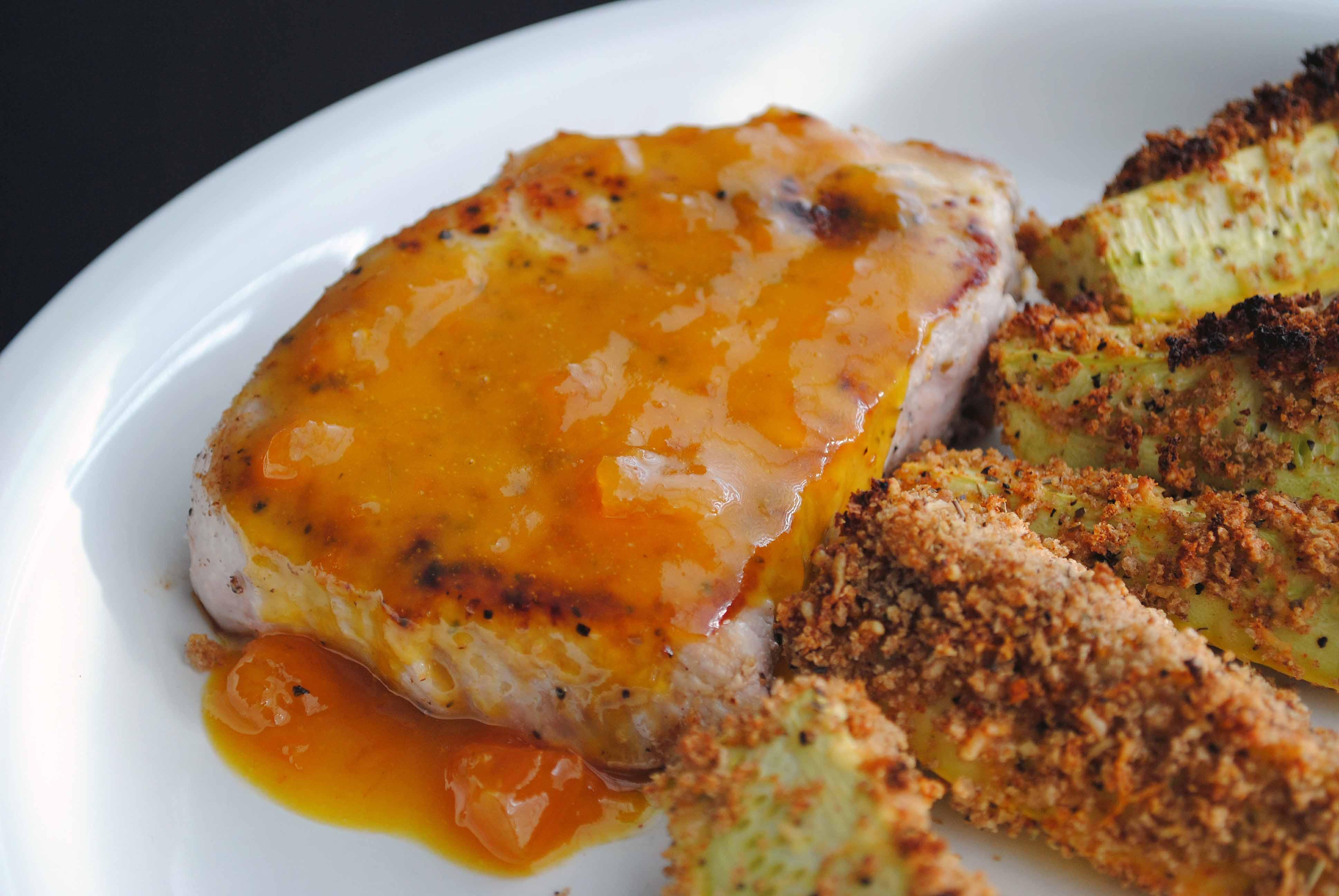 Apricot Pork Chops  apricot mustard pork chops