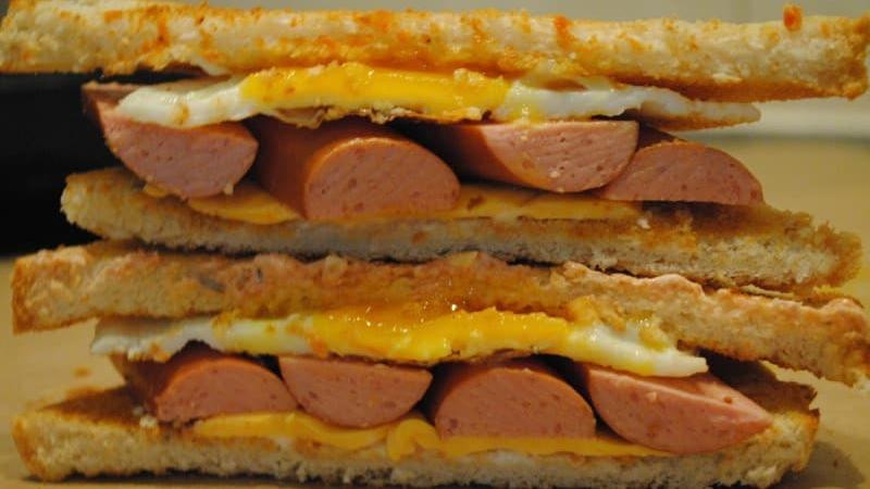 Are Hot Dogs Sandwiches  Hot dog and egg sandwich toastie recipe Student Recipes