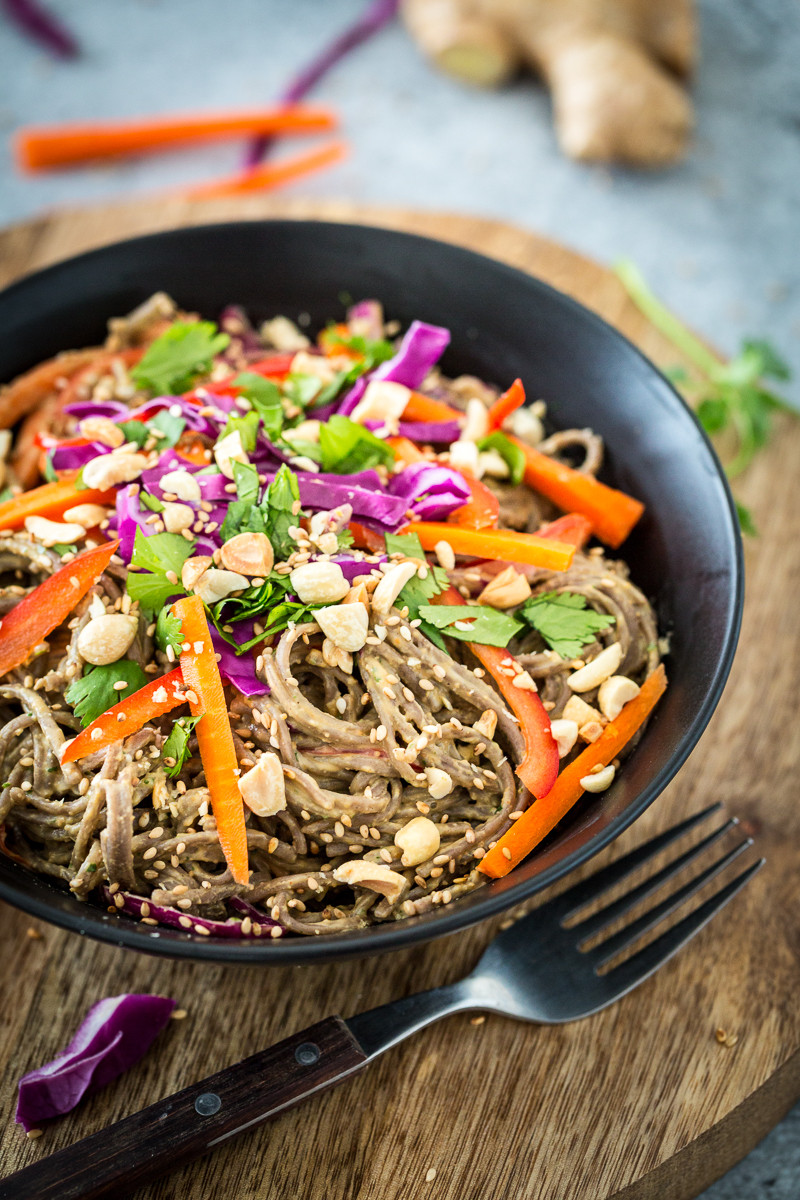 Are Soba Noodles Healthy  Spicy Peanut Soba Noodles with Veggies from Healthy Happy