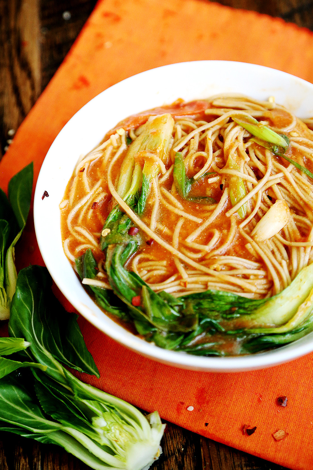 Are Soba Noodles Healthy  Thick Tomato Soba Noodle Soup with Bok Choy Noodles and