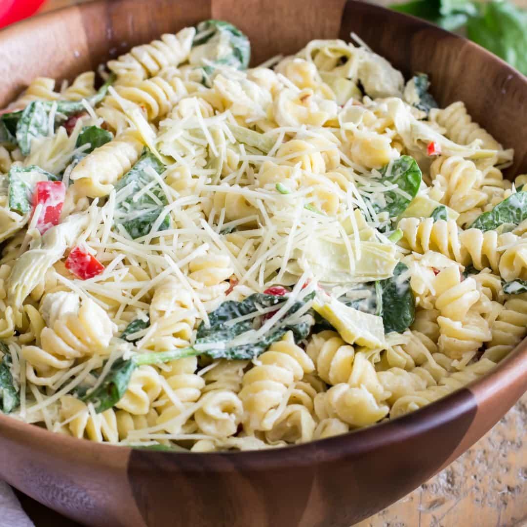Artichoke Pasta Salad  Spinach Artichoke Pasta Salad ⋆ Real Housemoms