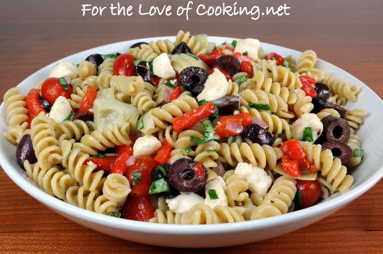 Artichoke Pasta Salad  Pasta Salad with Roasted Bell Pepper Mozzarella