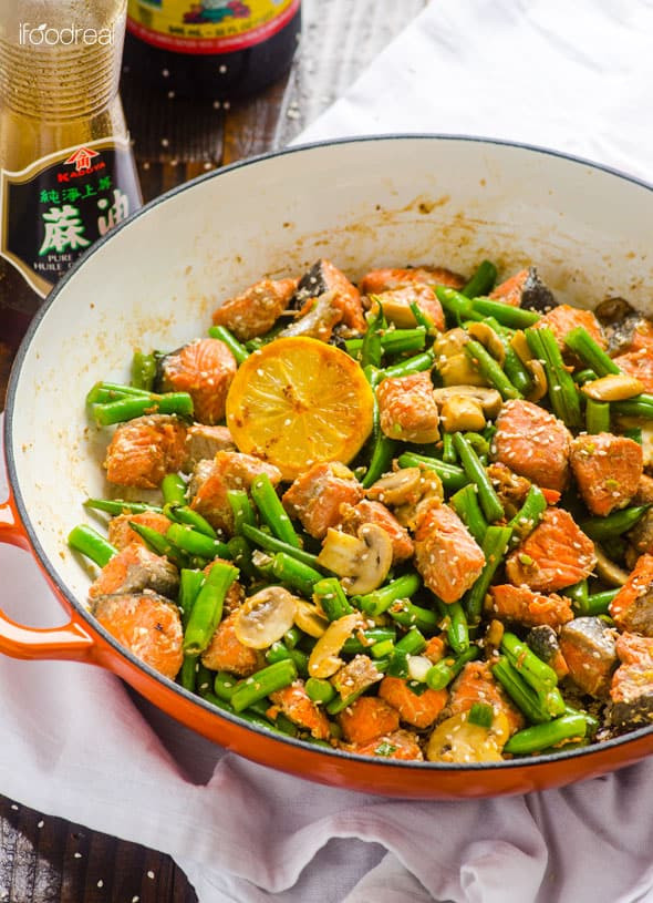 Asian Dinner Recipe  Salmon Stir Fry iFOODreal Healthy Family Recipes
