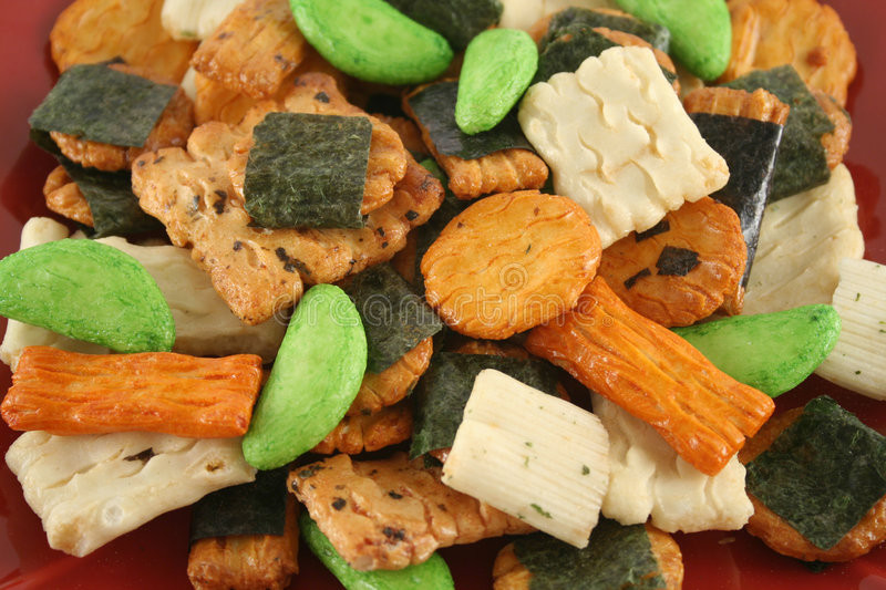 Asian Rice Crackers  Asian Rice Crackers 3 stock image Image of t brown