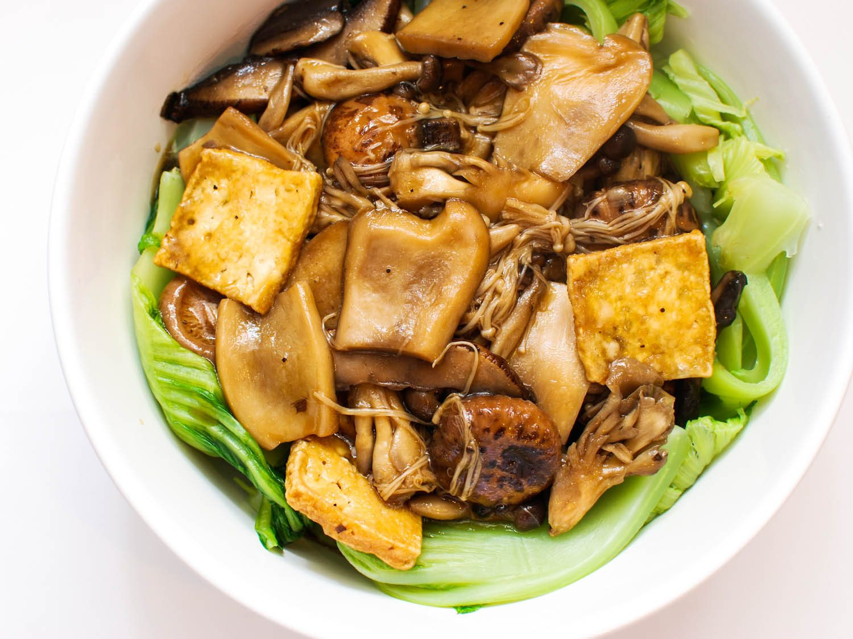 Asian Vegetarian Recipes  Mushrooms and Tofu With Chinese Mustard Greens Recipe