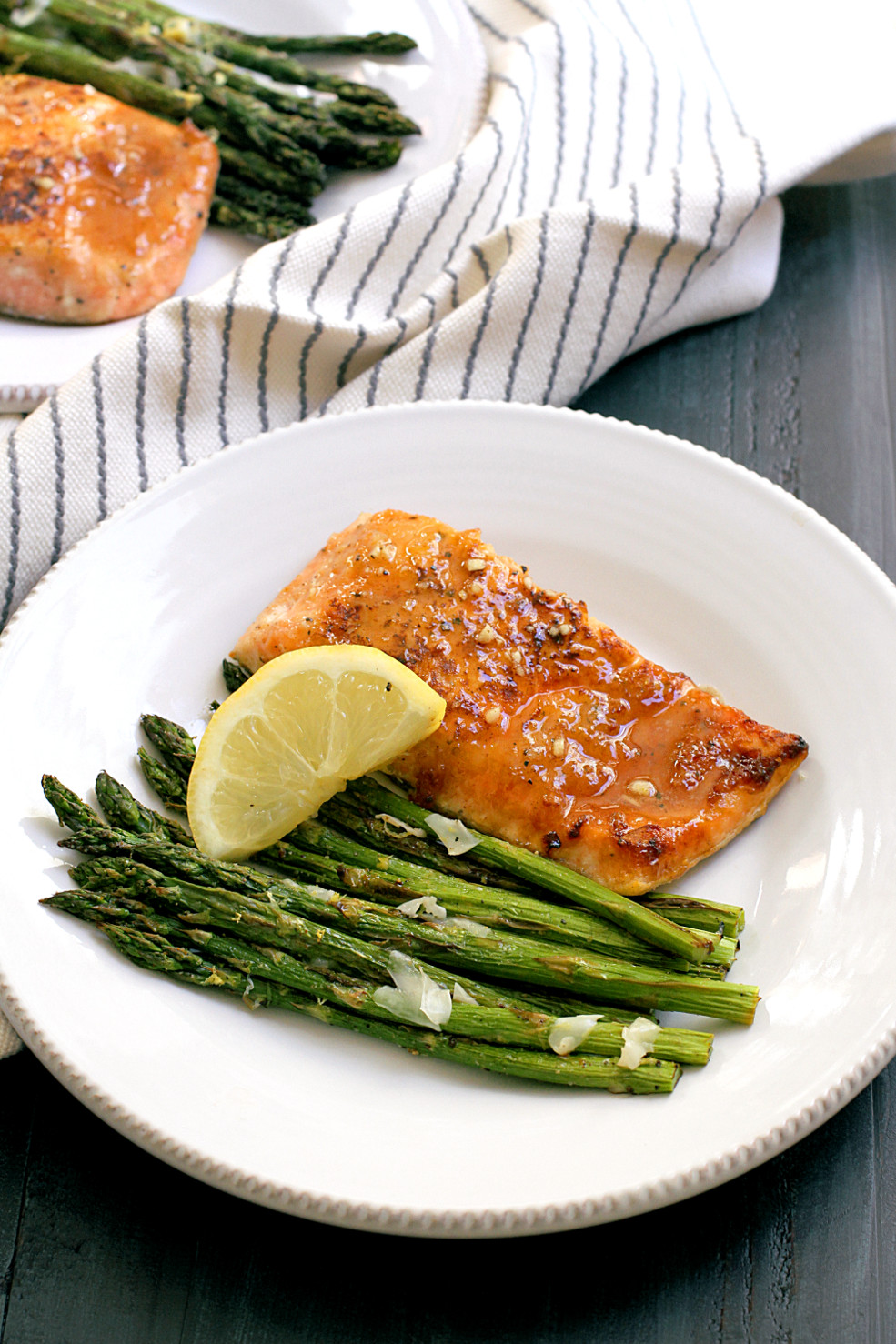 Asparagus And Salmon  Honey Glazed Salmon with Broiled Asparagus Two of a Kind