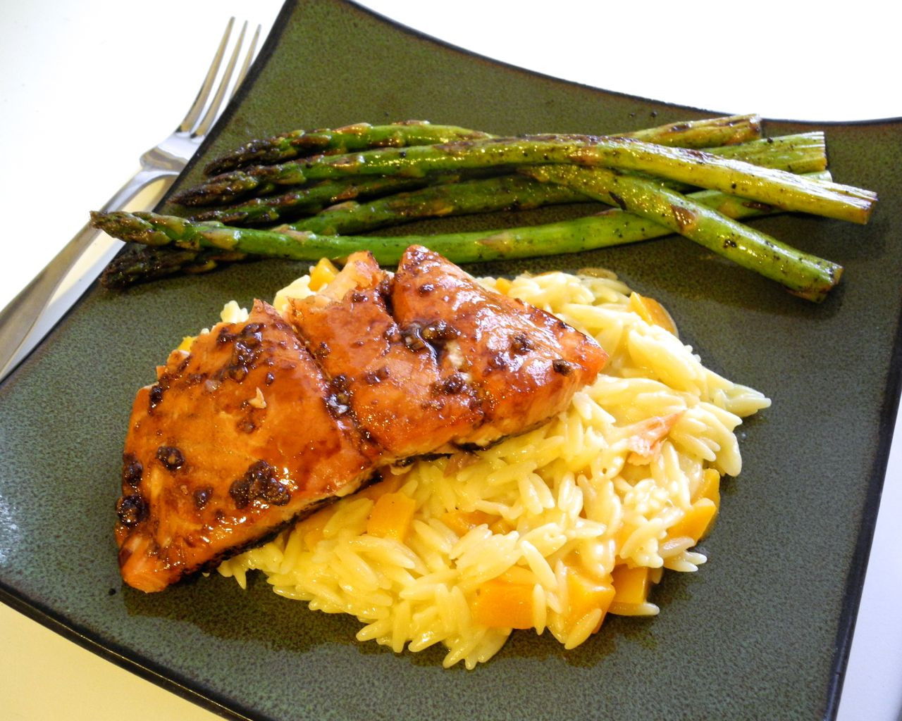 Asparagus And Salmon  Maple Balsamic Salmon with Lemon Butternut Squash Orzo