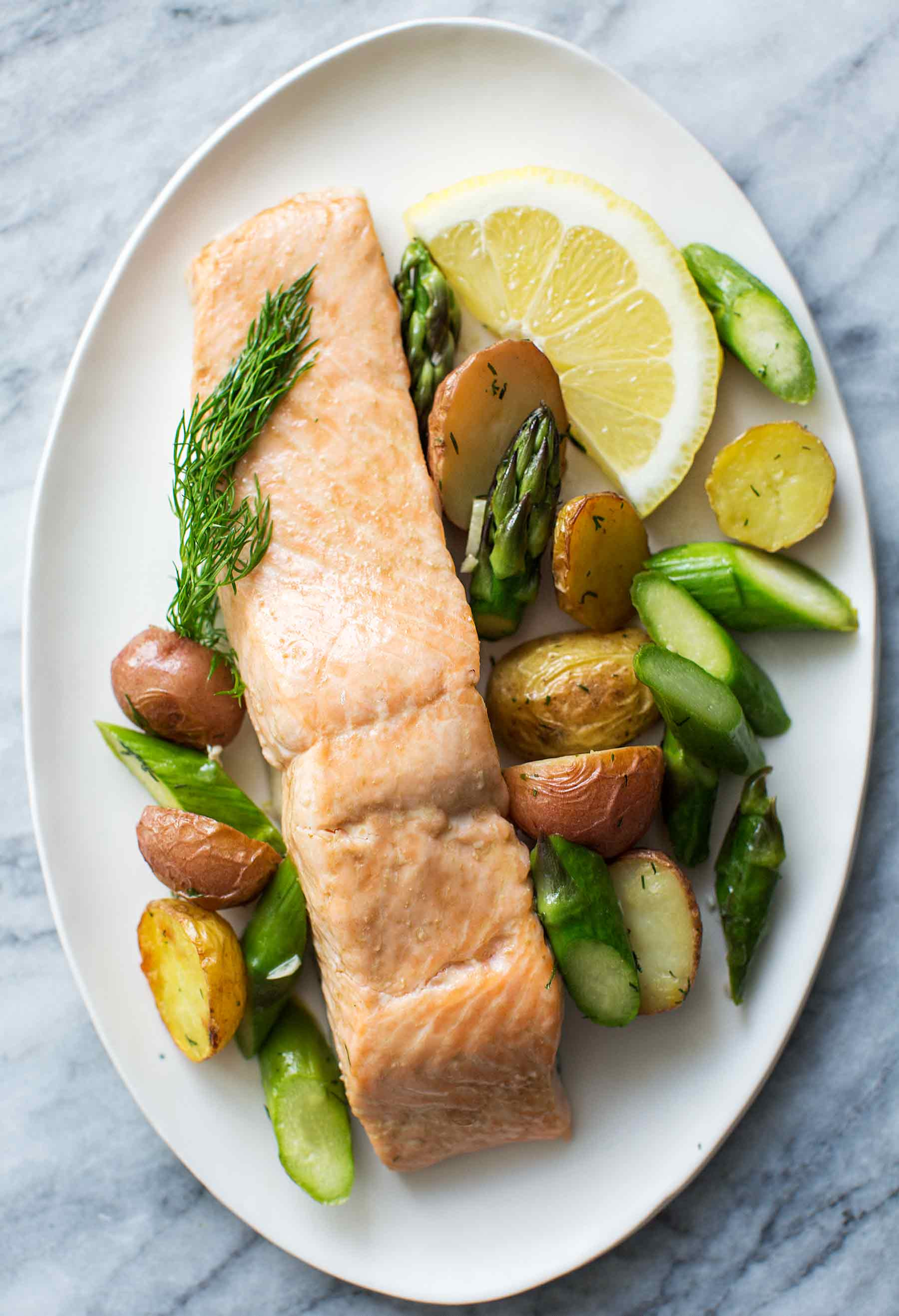 Asparagus And Salmon  Oven Roasted Salmon Asparagus and New Potatoes Recipe