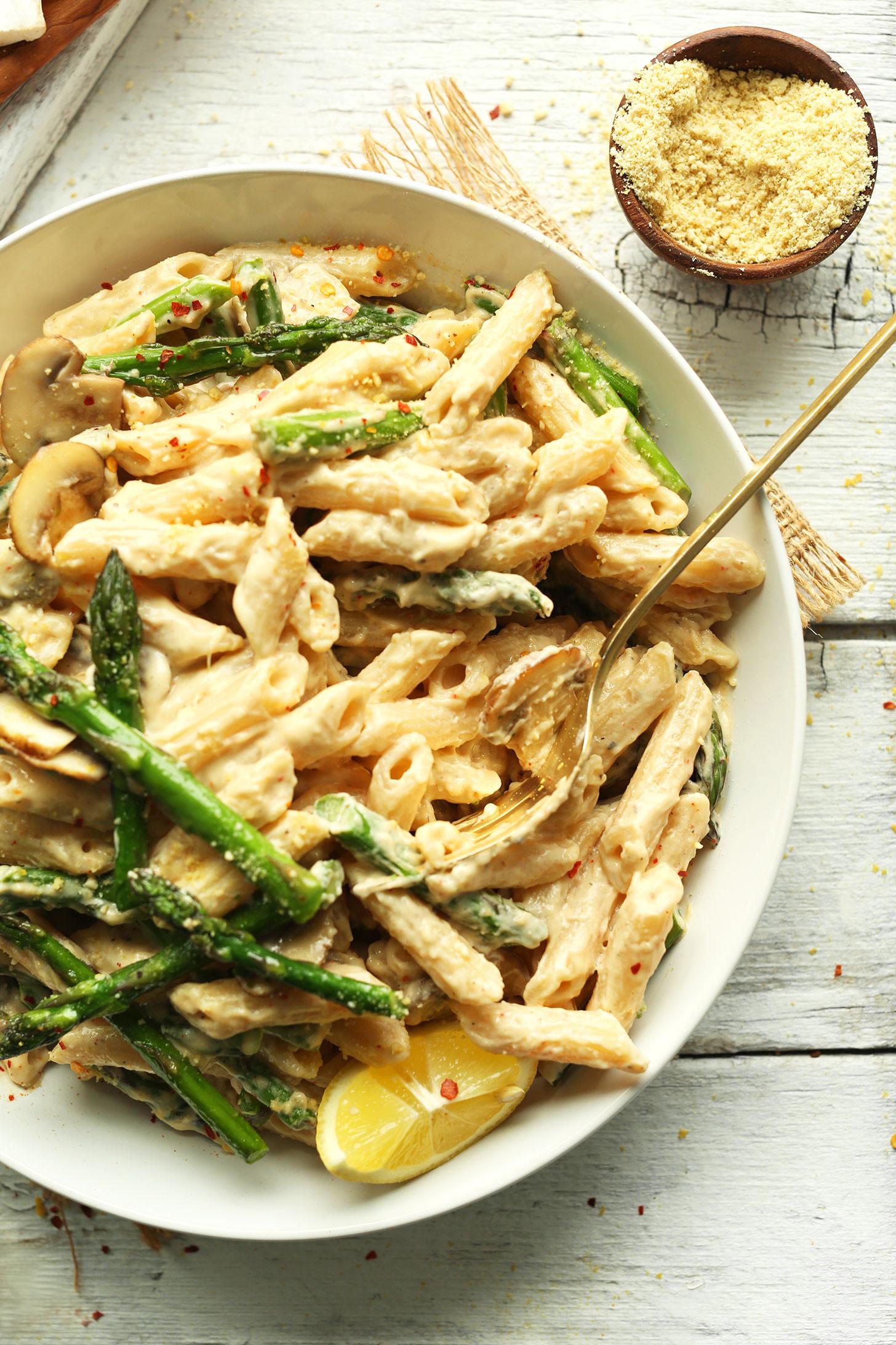 Asparagus Pasta Recipe  Creamy Mushroom Asparagus Pasta Recipe