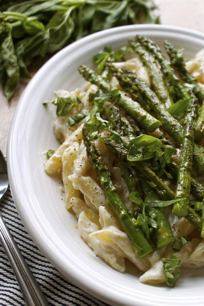 Asparagus Pasta Recipe  Vegan Recipe Spring Pasta Alfredo With Roasted Asparagus