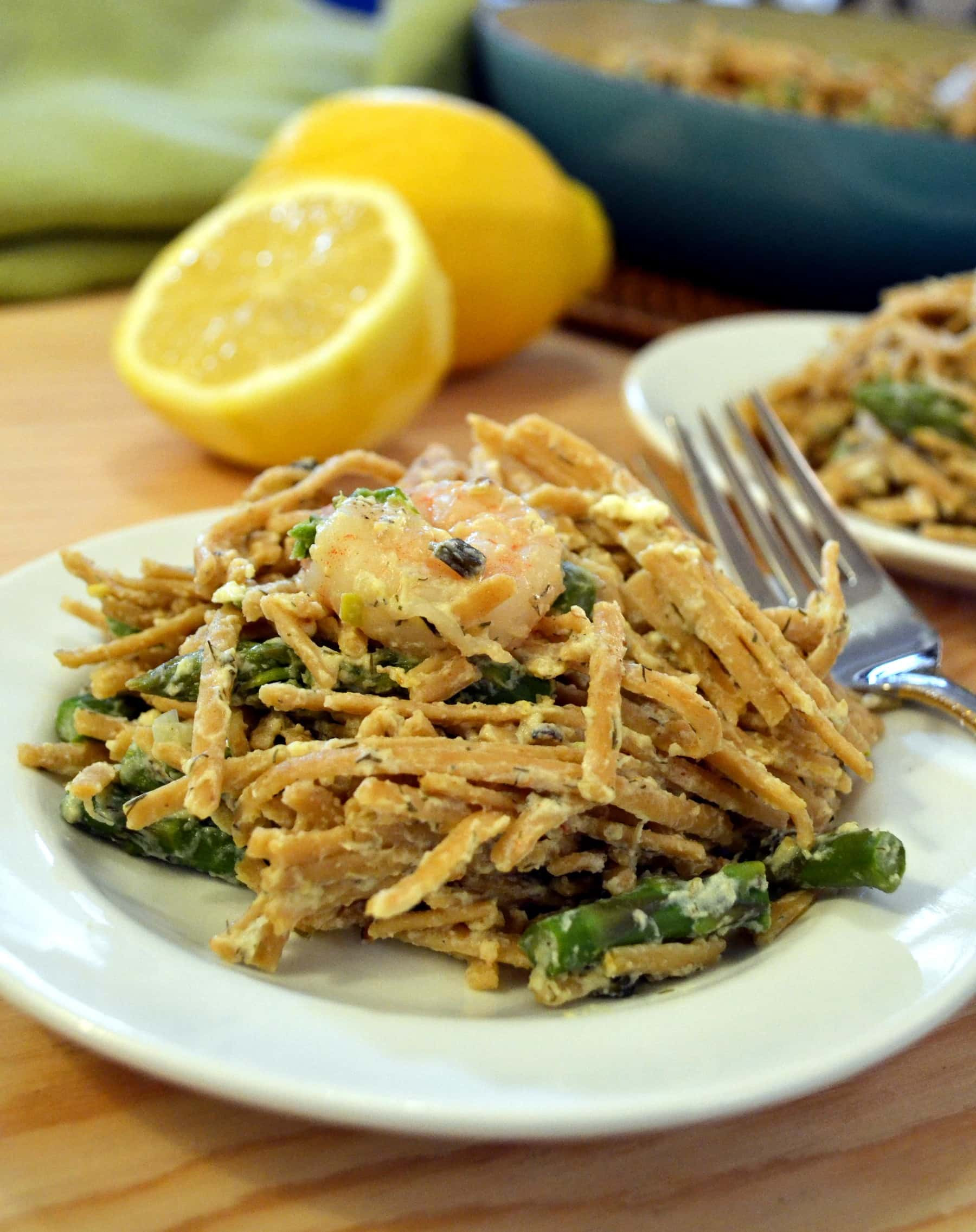 Asparagus Pasta Recipe  Lemon Asparagus Pasta with Roasted Shrimp