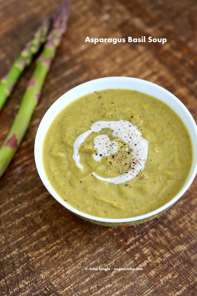 Asparagus Soup Vegan  Roasted Asparagus Basil Soup Vegan Glutenfree Recipe