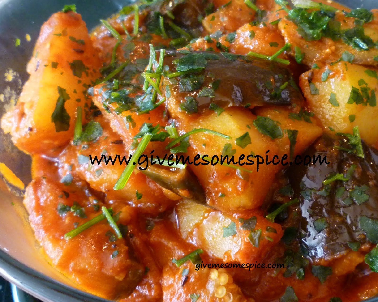 Authentic Indian Recipes  Potatoes and Aubergine Eggplant Curry Ringna bateta