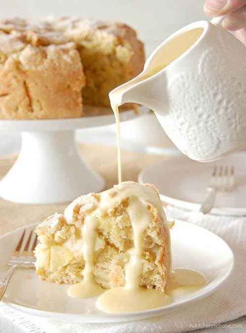 Authentic Irish Dessert  Authentic Irish Apple Cake with Custard Sauce Recipe