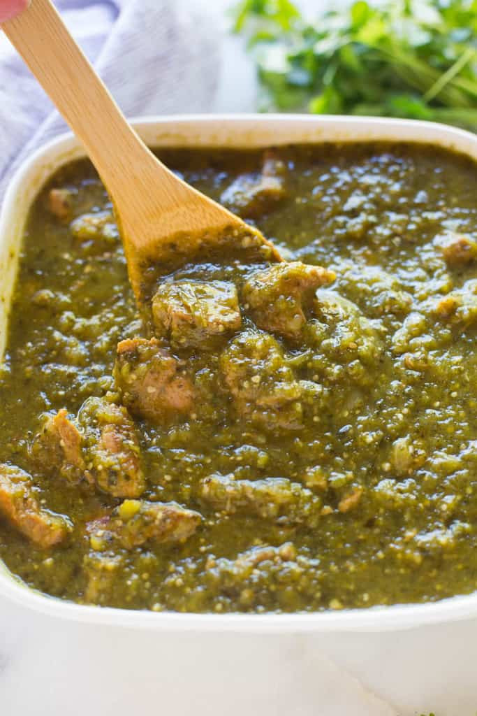 Authentic Pork Green Chili Recipe  Pork Chile Verde recipe Tastes Better from Scratch
