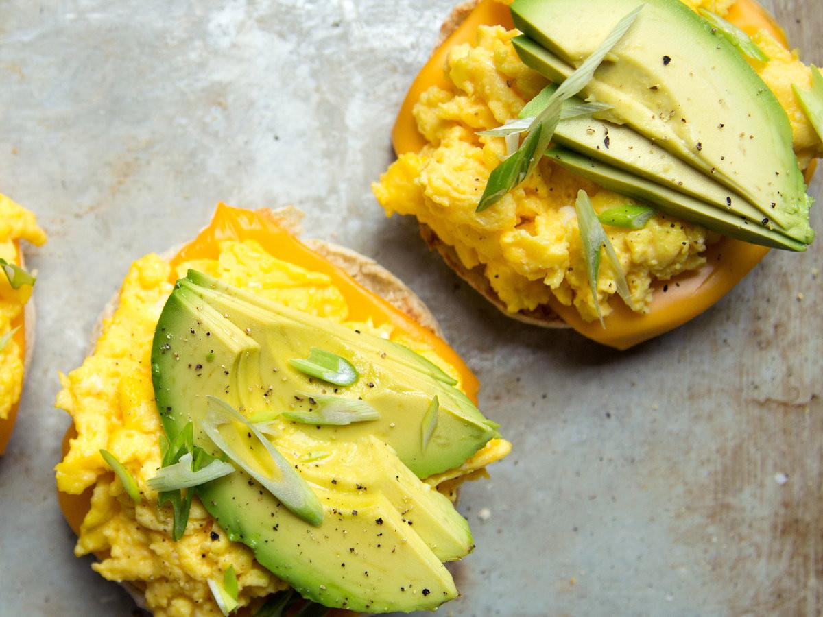 Avocado Breakfast Recipes  Scrambled Egg and Avocado Breakfast Sandwiches Recipe