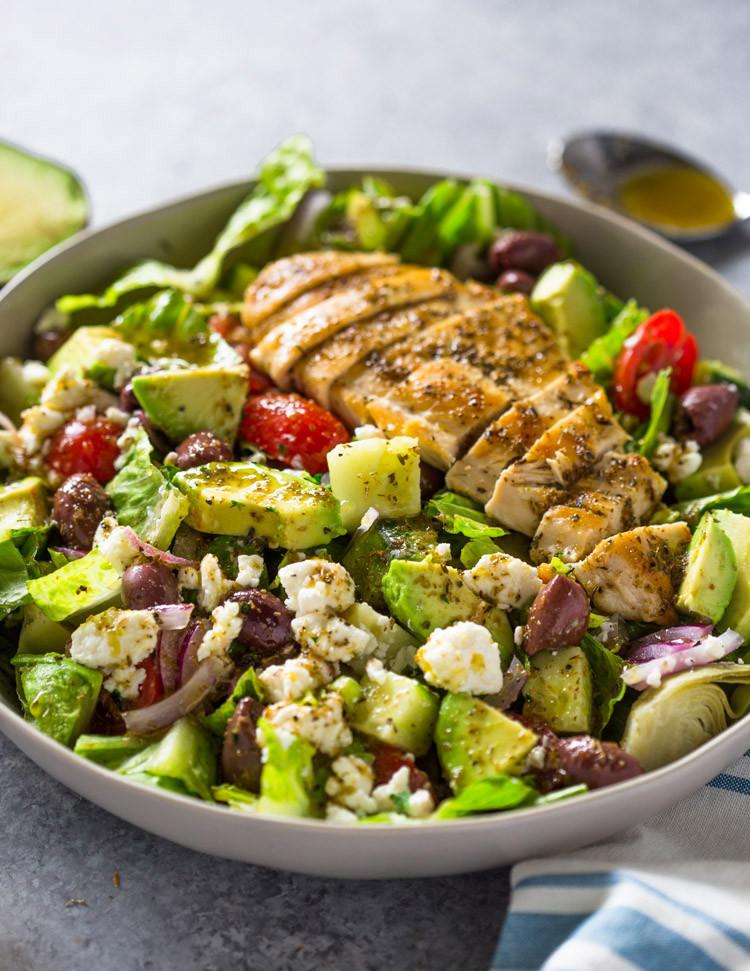 Avocado Chicken Salad  Greek Avocado & Grilled Chicken Salad with Greek Dressing