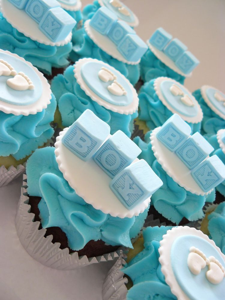 Baby Shower Cupcakes For Boys  Baby shower blue cupcakes