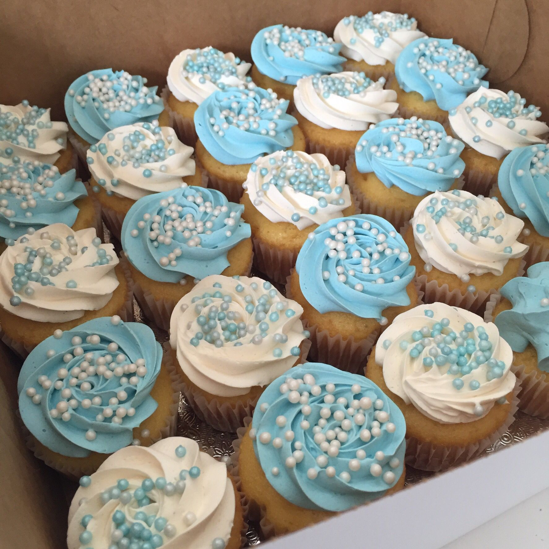 Baby Shower Cupcakes For Boys  Blue and white baby shower cupcake
