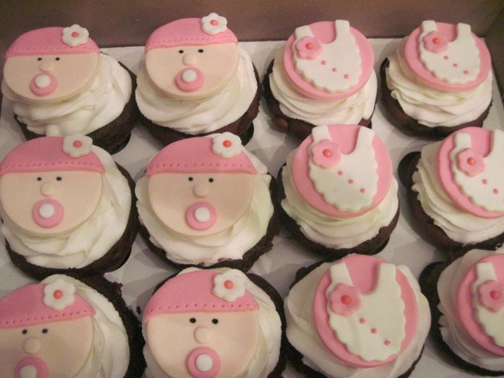 Baby Shower Cupcakes For Girls  Think Sweet Girl Baby Shower Cupcakes 11 20 10