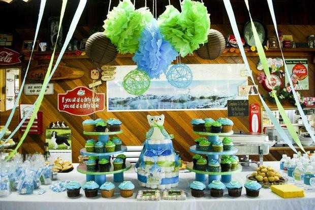 Baby Shower Dessert Table For Boy  Owl Baby Boy Shower Baby Shower Ideas Themes Games
