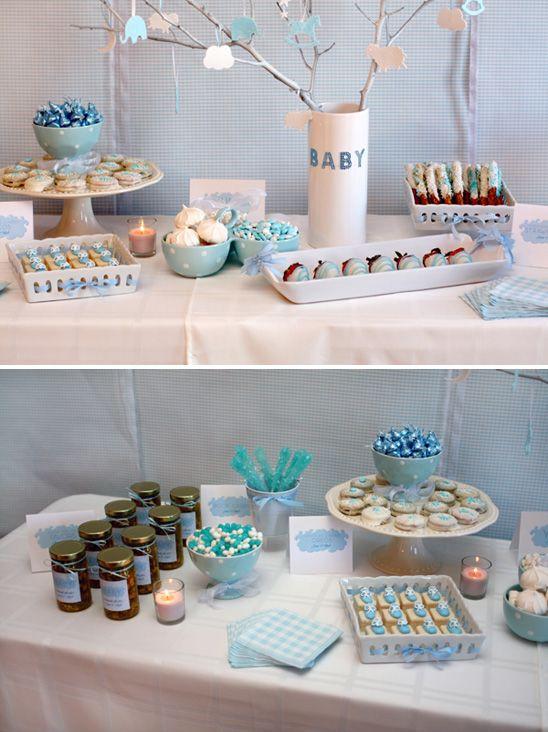 Baby Shower Dessert Table For Boy  Blue & White Gingham Dessert Table so many cute ideas
