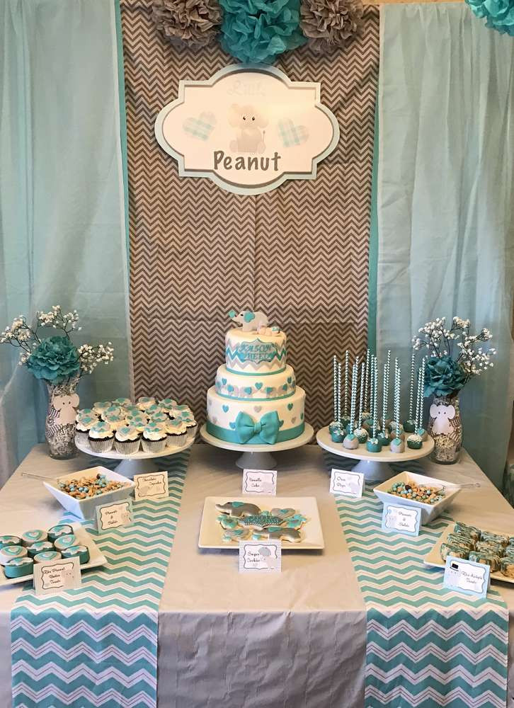 Baby Shower Dessert Table For Boy  Elephant Baby Shower Party Ideas 1 of 35
