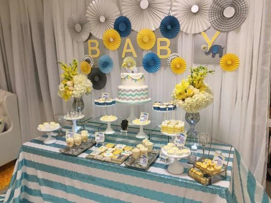 Baby Shower Dessert Table For Boy  Glam Elephant Baby Shower Baby Shower Ideas Themes Games