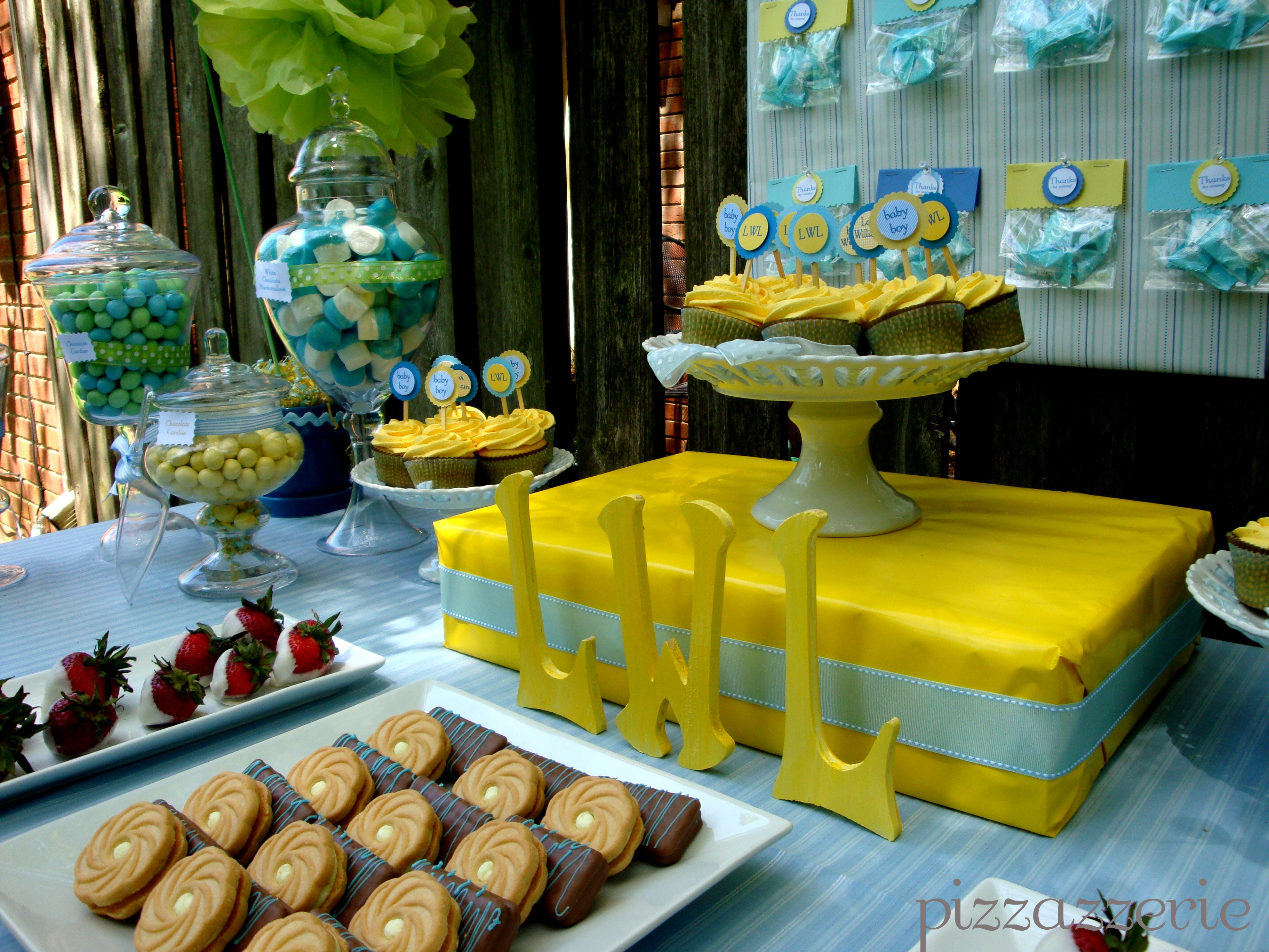 Baby Shower Dessert Table For Boy  Blue & Yellow Baby Shower