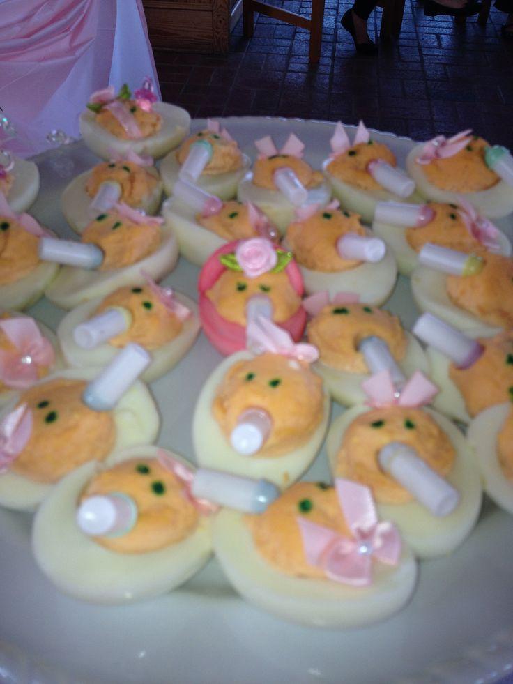 Baby Shower Deviled Eggs  Baby shower it s a girl deviled eggs