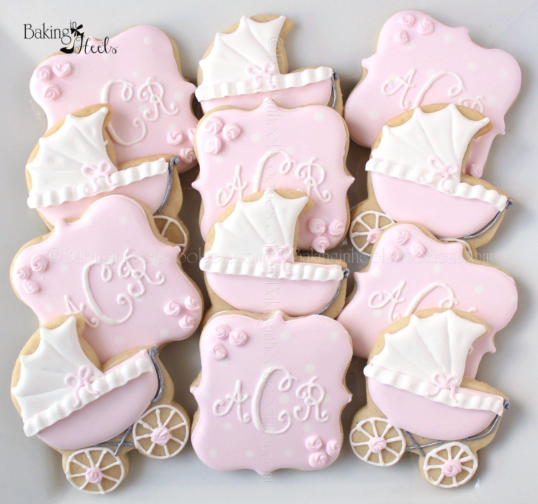 Baby Shower Sugar Cookies  Baby Carriage Baby Shower Cookies Monogram Cookies It s