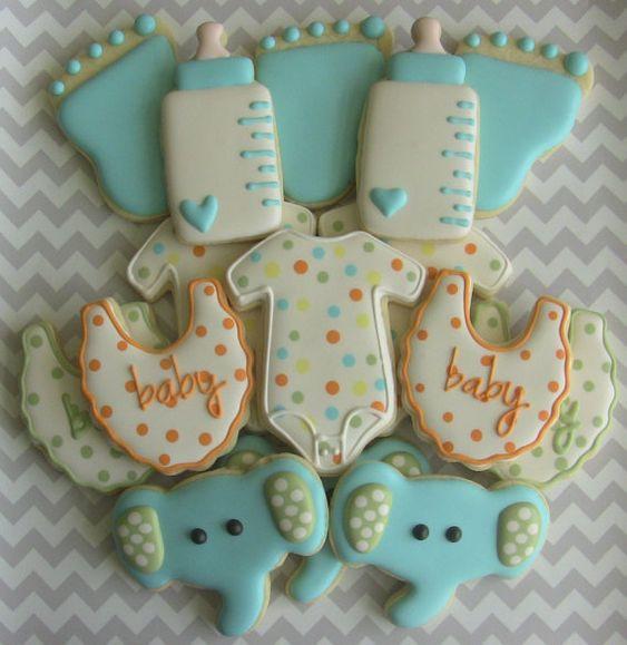 Baby Shower Sugar Cookies  Elephant Baby Shower Cookies