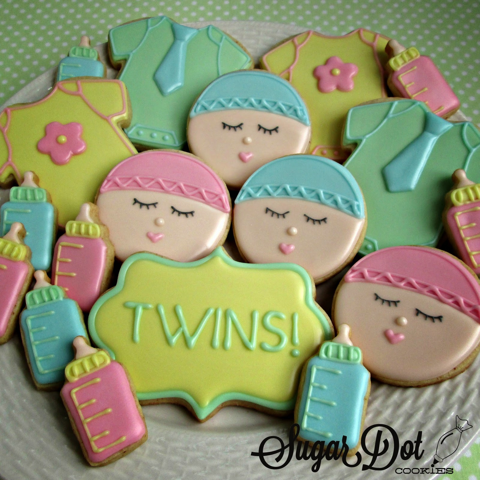 Baby Shower Sugar Cookies  A baby boy shower esies with bow ties Bottles