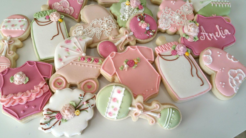 Baby Shower Sugar Cookies  Vintage baby shower cookies heart cookies lace cookies girl