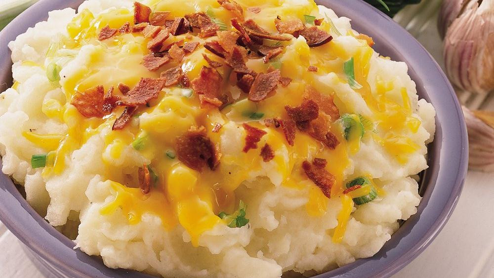 Bacon Mashed Potatoes  Cheddar Bacon and ion Mashed Potatoes recipe from