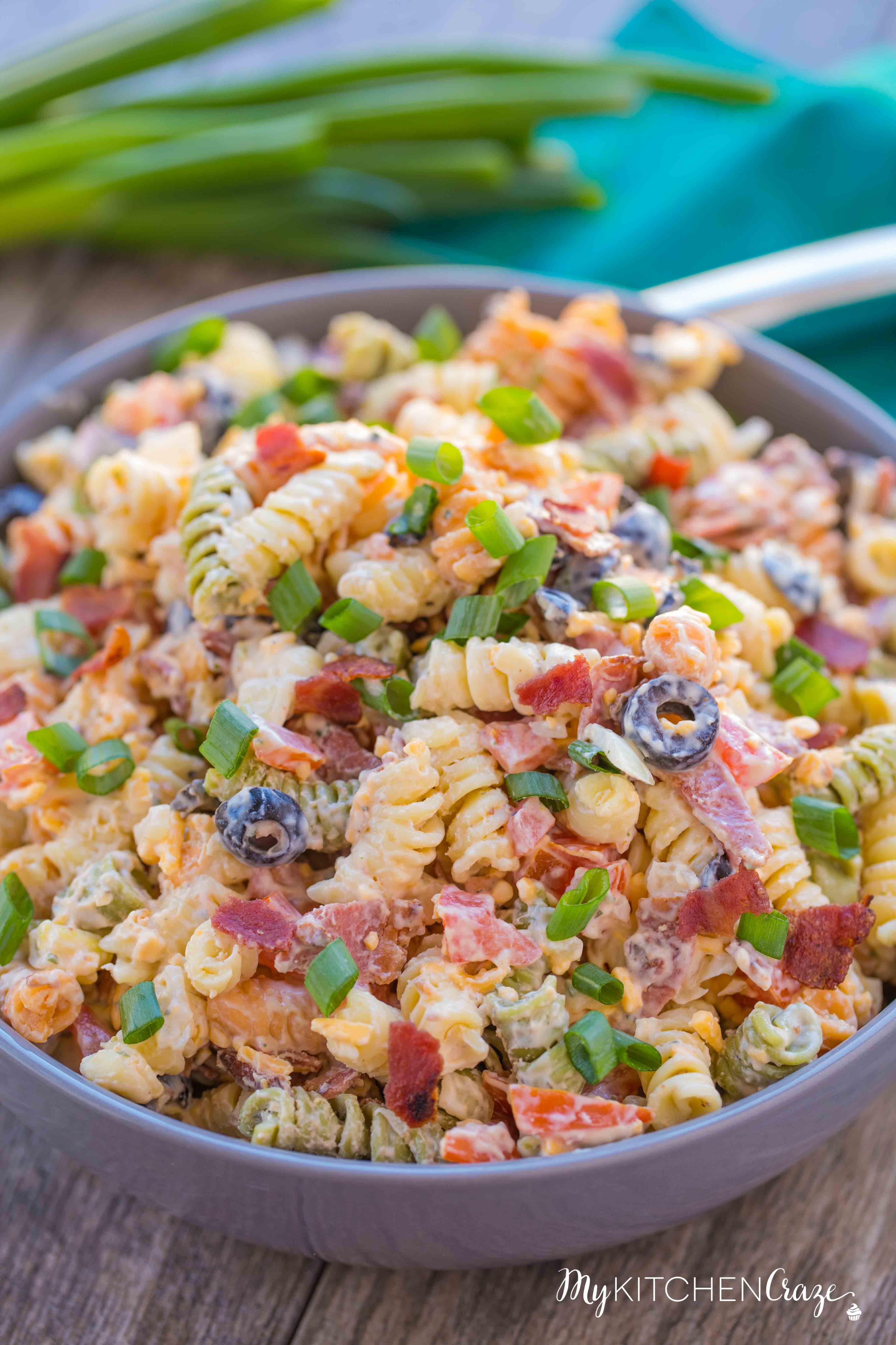Bacon Ranch Pasta Salad  Bacon Ranch Pasta Salad My Kitchen Craze