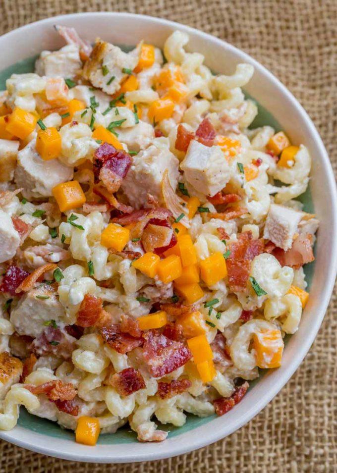 Bacon Ranch Pasta Salad  Chicken Bacon Ranch Pasta Salad Dinner then Dessert