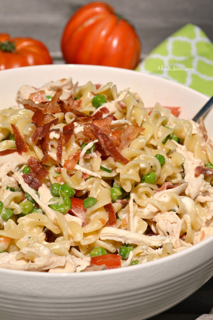 Bacon Ranch Pasta Salad  Bacon Chicken Ranch Pasta Salad About A Mom
