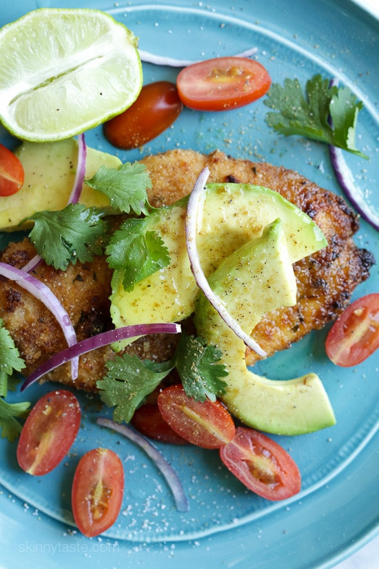 Baked Breaded Chicken Cutlets  Breaded Chicken Cutlets with Deconstructed Guacamole