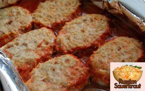 Baked Breaded Chicken Cutlets  Baked Chicken Cutlets Recipe with Sauerkraut