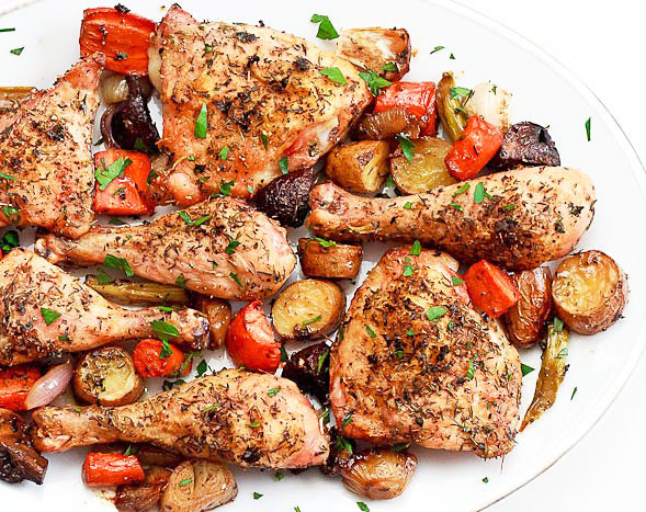 Baked Chicken And Vegetables  Simple Roast Chicken on a Bed of Ve ables