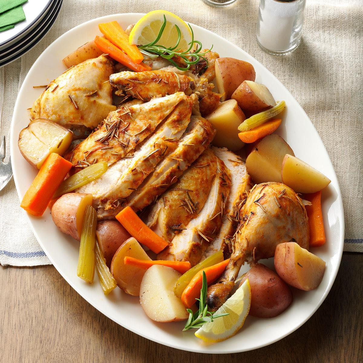 Baked Chicken And Vegetables  Slow Roasted Chicken with Ve ables Recipe