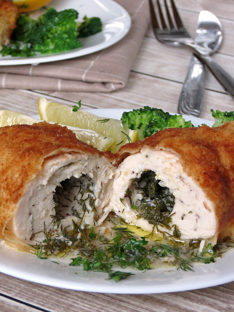 Baked Chicken Kiev  Baked Chicken Kiev Yummy Addiction
