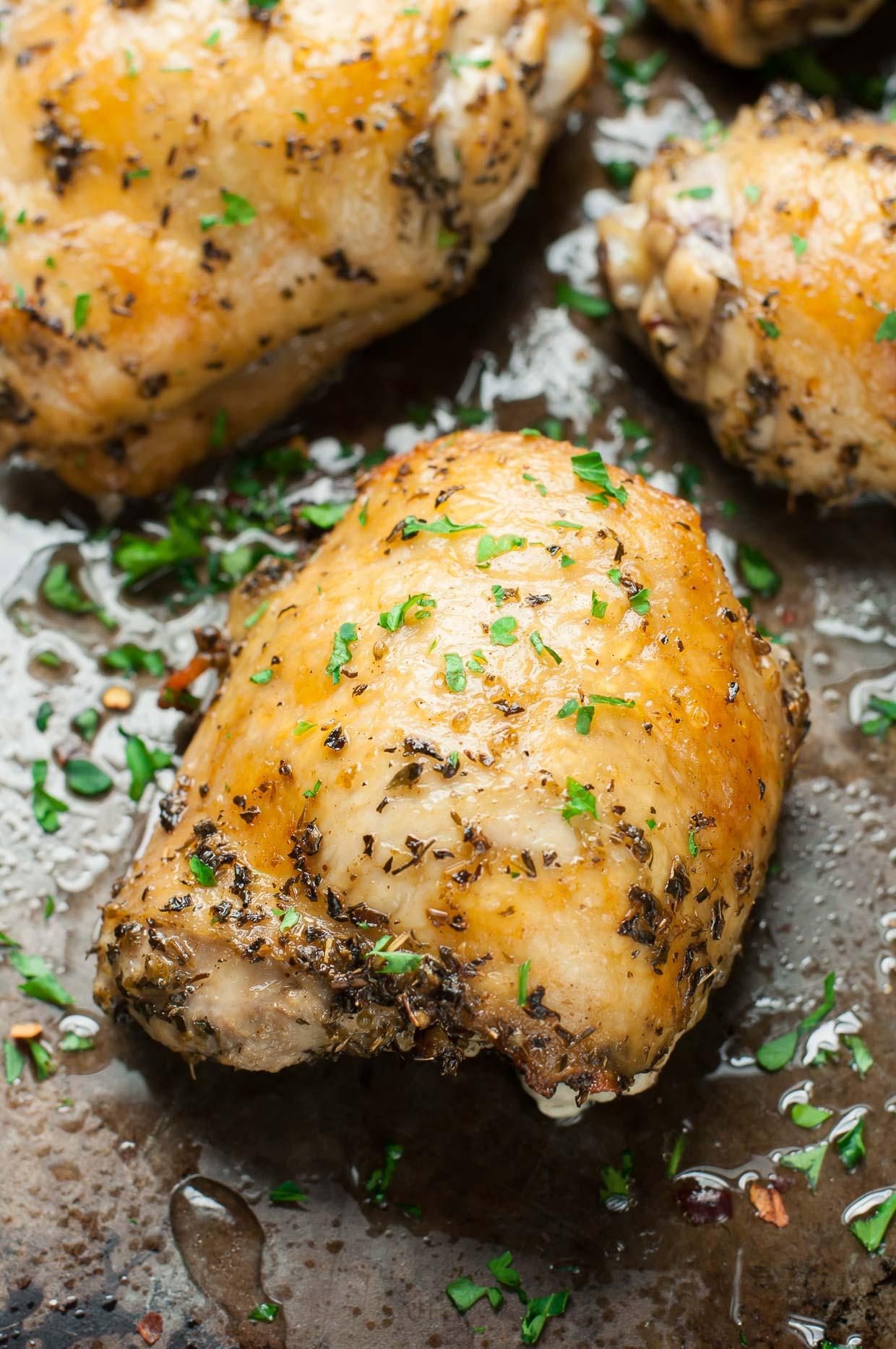 Baked Chicken Marinade  Crispy Baked Chicken Thighs with Garlic Turmeric Rice