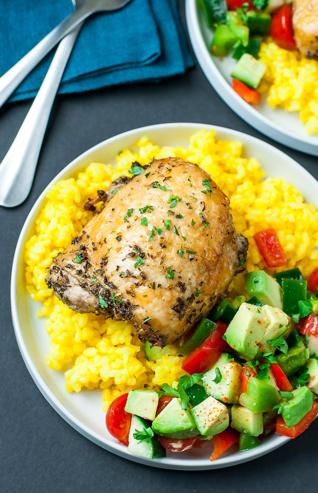Baked Chicken Recipes For Dinner  Crispy Baked Chicken Thighs with Garlic Turmeric Rice