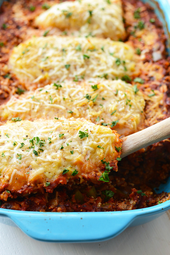 Baked Chicken Recipes Healthy  Healthy Chicken Parmesan Quinoa Bake Fit Foo Finds