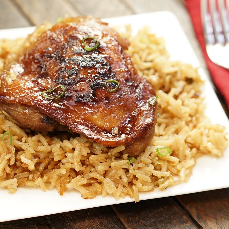 Baked Chicken Thighs And Rice  Honey Soy Chicken & Rice Bake Recipe & Video