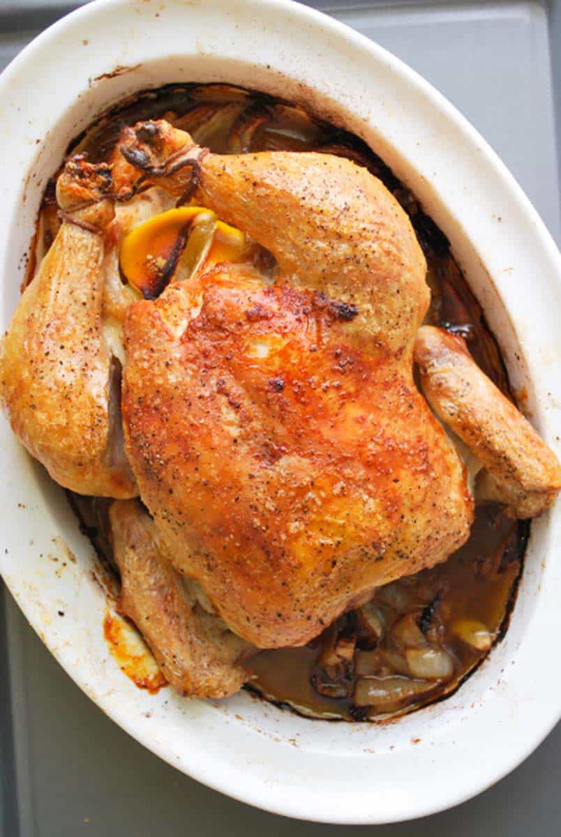 Baked Chicken Whole  Simple Whole Roasted Chicken Recipe with Lemon