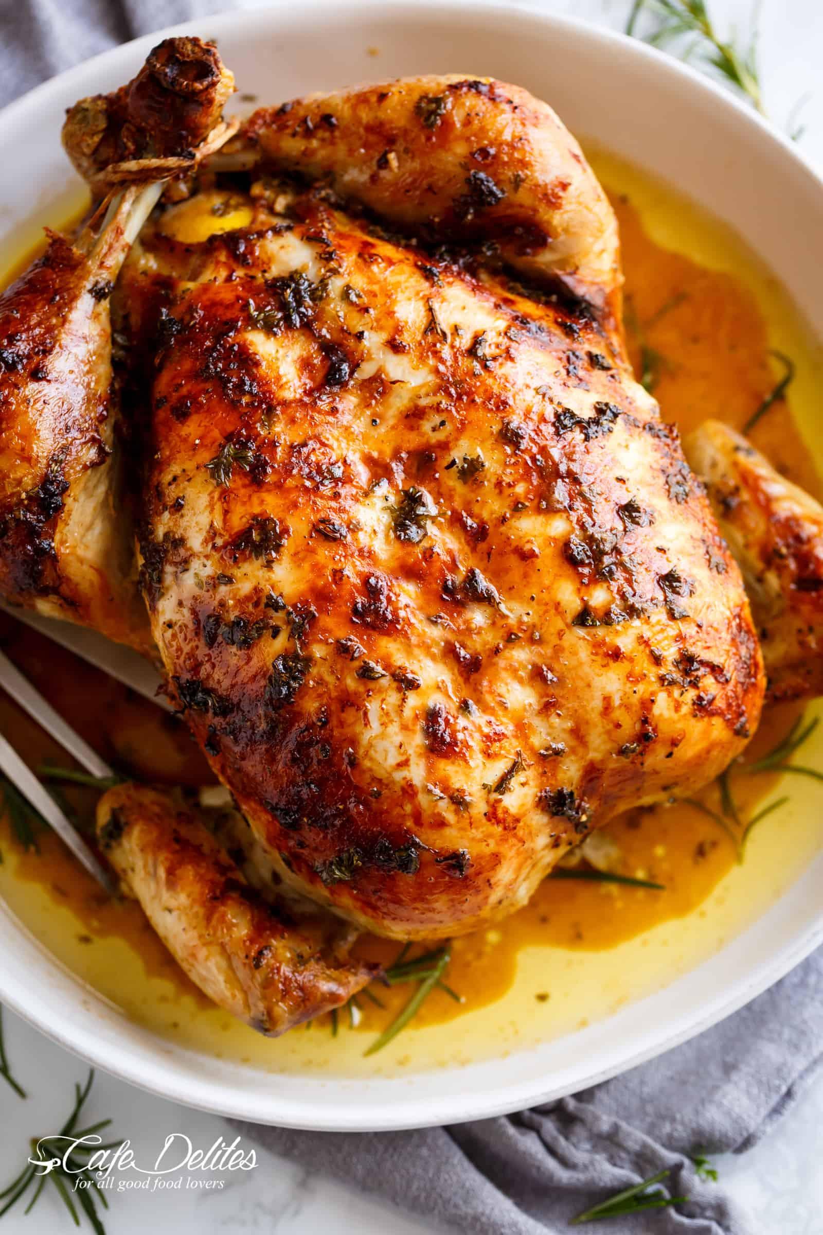 Baked Chicken Whole  Garlic Herb Butter Roast Chicken Cafe Delites
