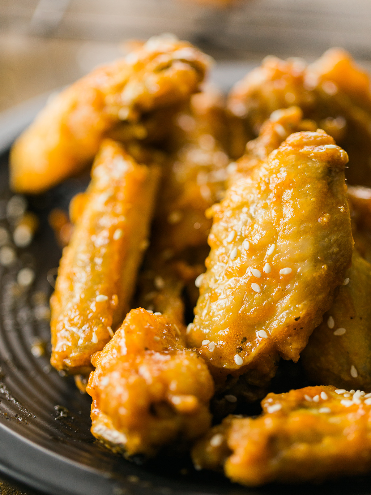 Baked Chicken Wings Crispy  Honey Sriracha Beer Glazed Crispy Baked Chicken Wings